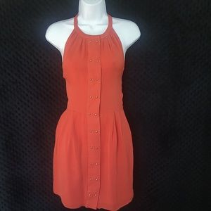 Parker coral silk dress with gold studs S